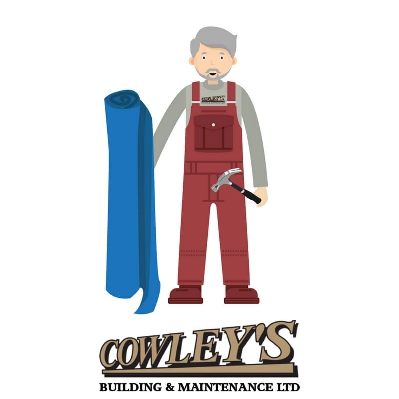 Builder in overalls with Cowleys logo